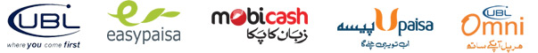 We are payment accept UBL ( United Back Limited ), Easypaisa, Mobicash, Upaisa, Omni.